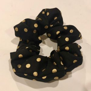 black and gold dot scrunchies